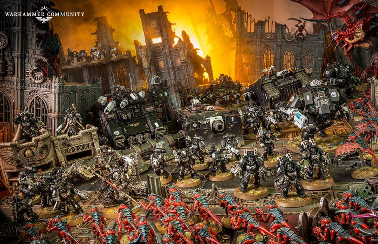An armored advance by the Iron Hands faces off against the Tyranid onslaught.