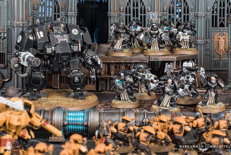 A classic Iron Hands battle pile repels the Tau.