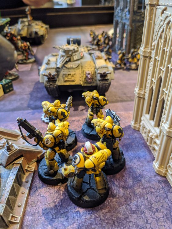 Imperial Fist Intercessors stare down a Chimera