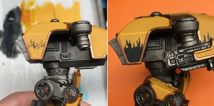 Painting Fureans Flames WIP Before and After