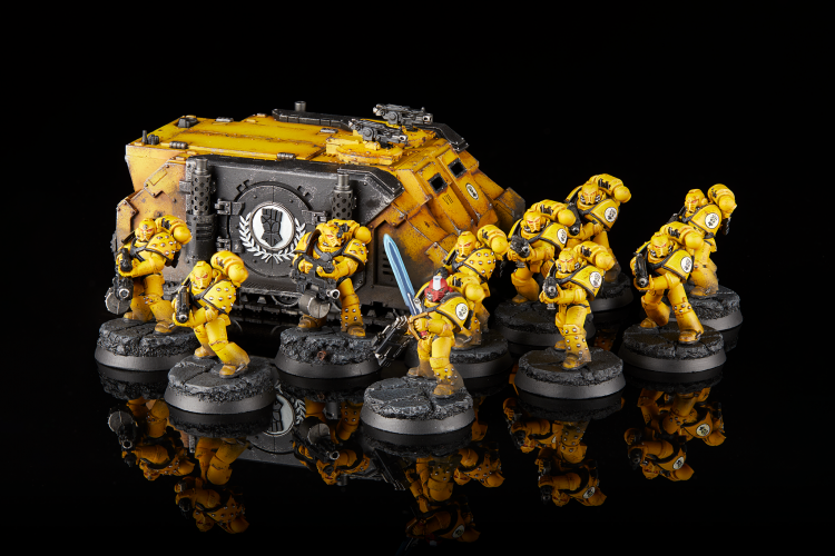 Imperial Fists Veteran Tactical Squad with Rhino