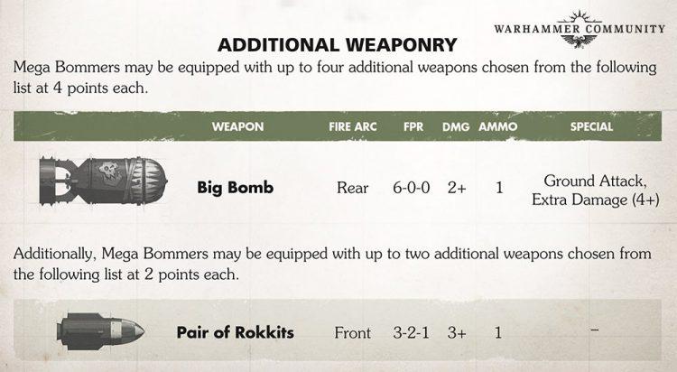 Mega Bomber Ordnance Options