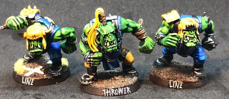 Orc Thrower and Linemen - Painted by ineptmule