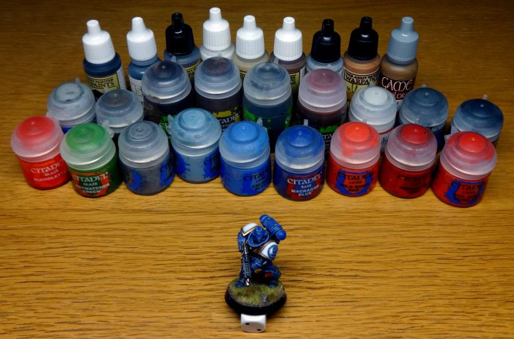 A Space Marine with the paints used
