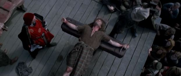 Mel Gibson as William Wallace in Braveheart, about to be executed