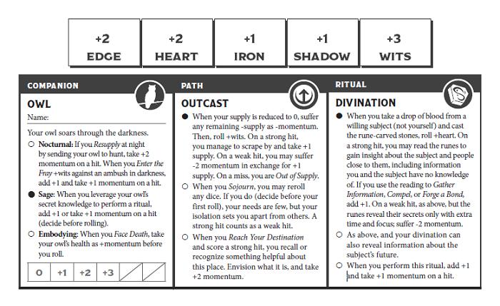 Ironsworn Character Sheet Example