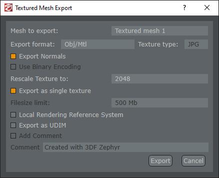 Photogrammetry - Export Textured Mesh