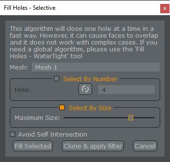 Photogrammetry - Fill Holes Filter