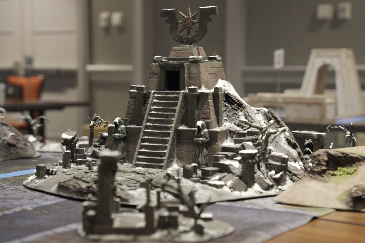 Image of giant temple terrain provided by Chris Stover to the Goonhammer Open Narrative